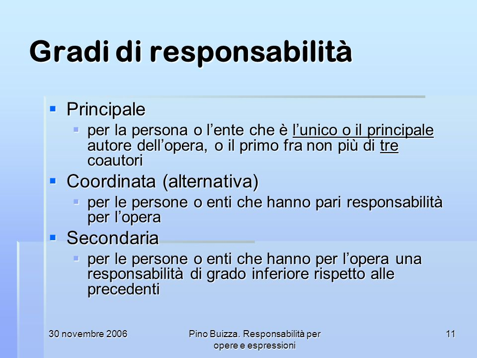 Gradi di responsabilità