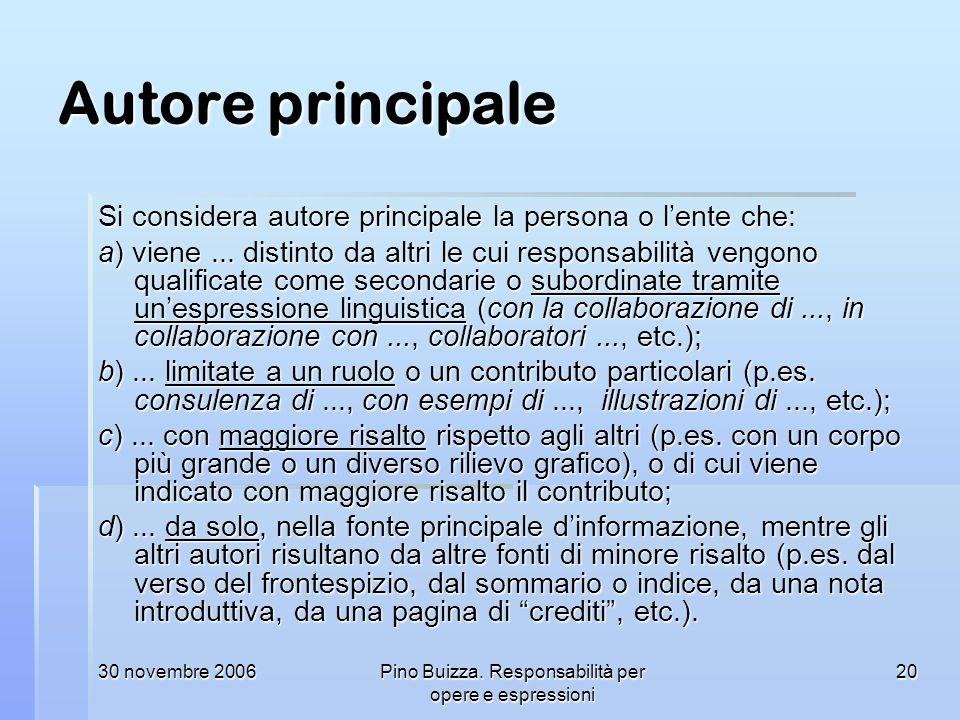 Pino Buizza. Responsabilità per opere e espressioni