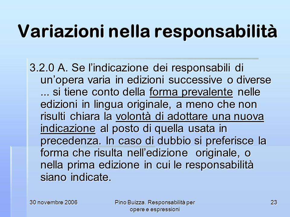Variazioni nella responsabilità