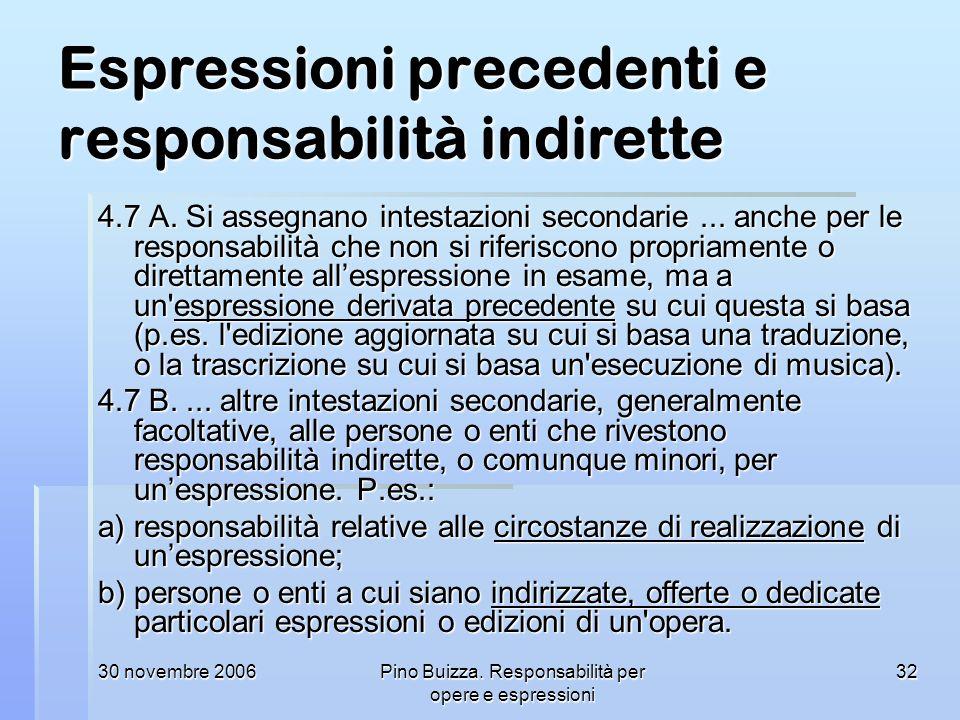 Espressioni precedenti e responsabilità indirette