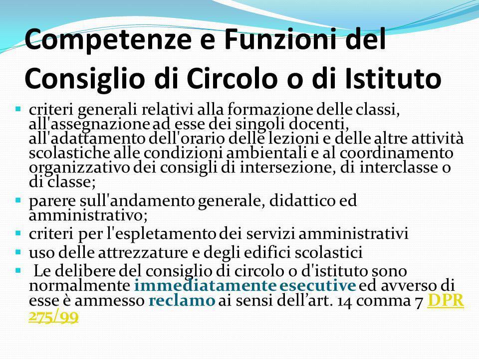 Competenze e Funzioni del Consiglio di Circolo o di Istituto