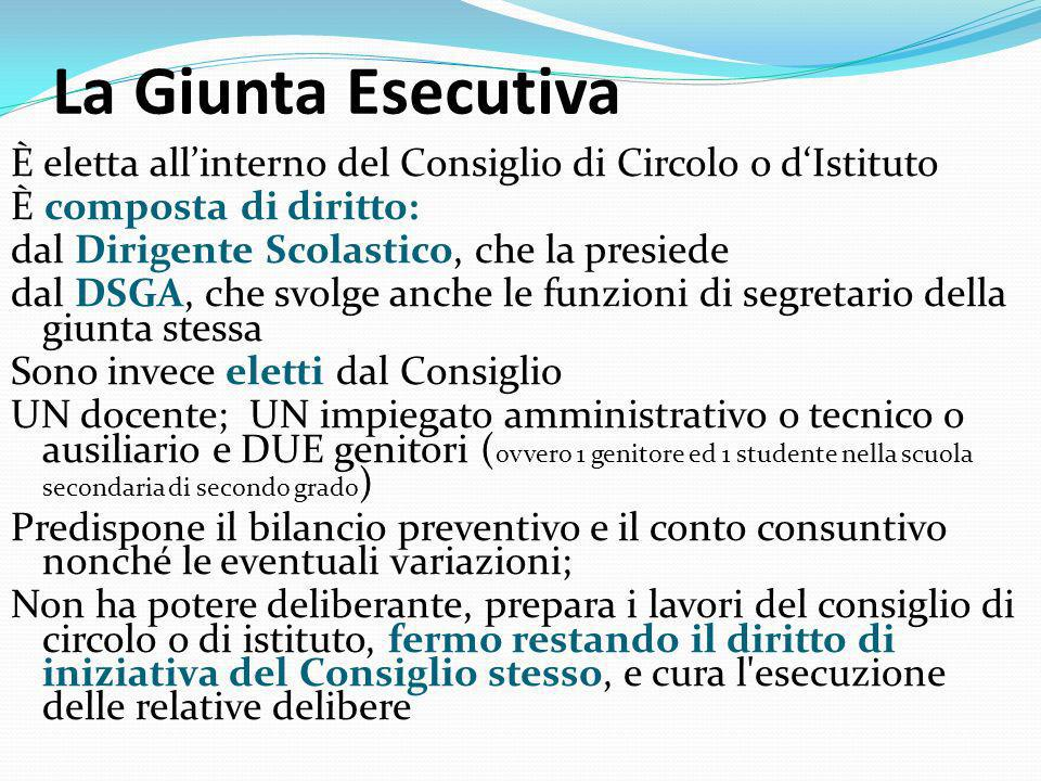 La Giunta Esecutiva È eletta all'interno del Consiglio di Circolo o d'Istituto. È composta di diritto: