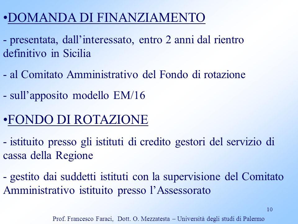 DOMANDA DI FINANZIAMENTO