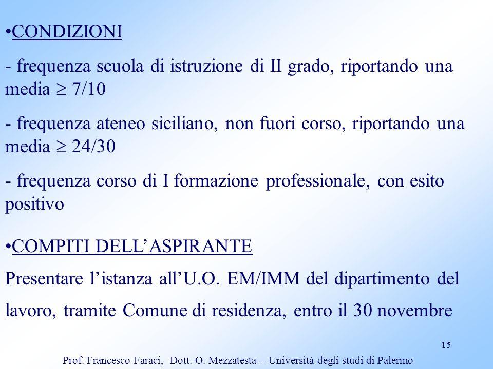 - frequenza corso di I formazione professionale, con esito positivo