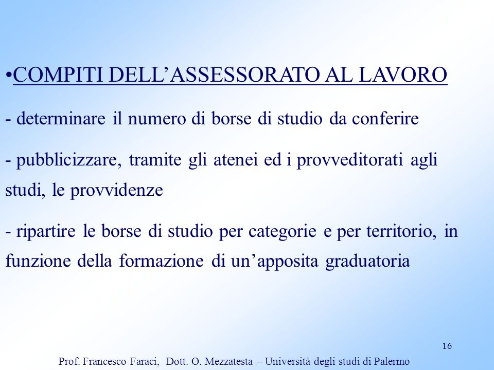 COMPITI DELL'ASSESSORATO AL LAVORO
