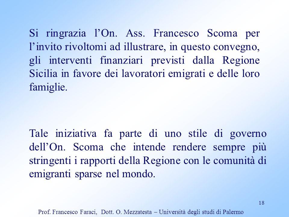 Si ringrazia l'On. Ass. Francesco Scoma per l'invito rivoltomi ad illustrare, in questo convegno, gli interventi finanziari previsti dalla Regione Sicilia in favore dei lavoratori emigrati e delle loro famiglie.