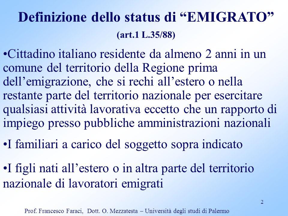 Definizione dello status di EMIGRATO
