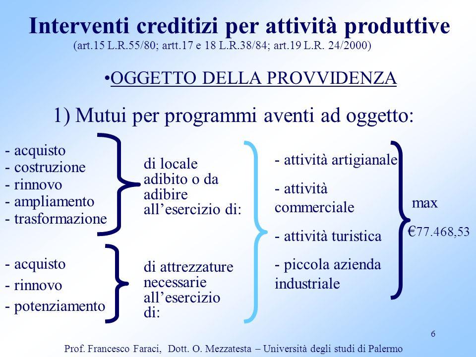 Interventi creditizi per attività produttive