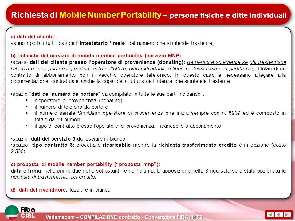 Richiesta di Mobile Number Portability – persone fisiche e ditte individuali