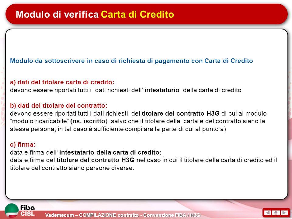 Modulo di verifica Carta di Credito