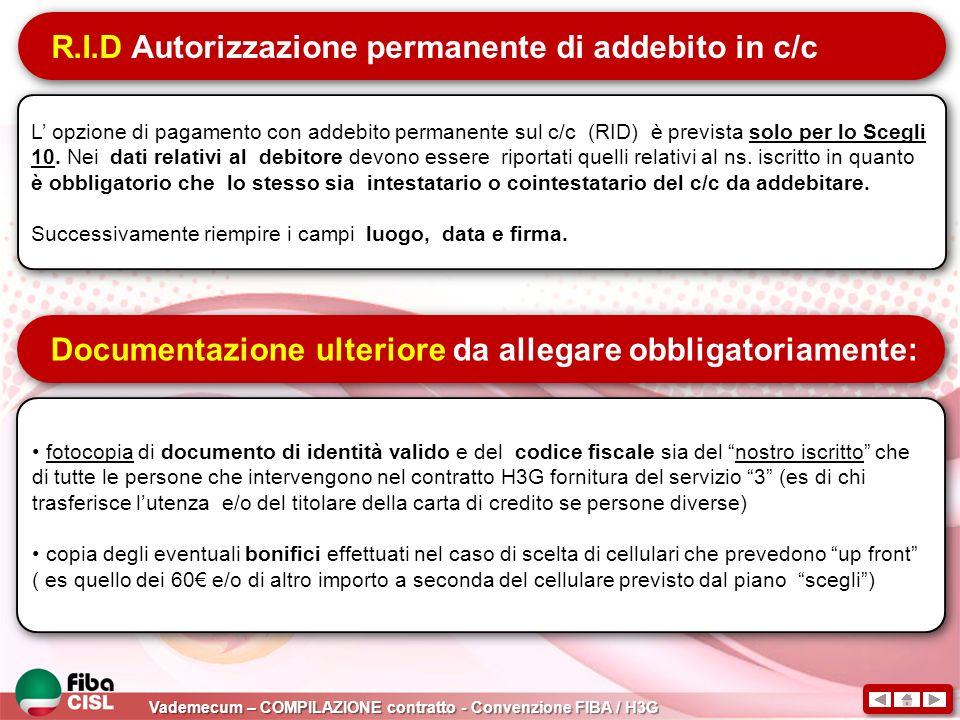 R.I.D Autorizzazione permanente di addebito in c/c