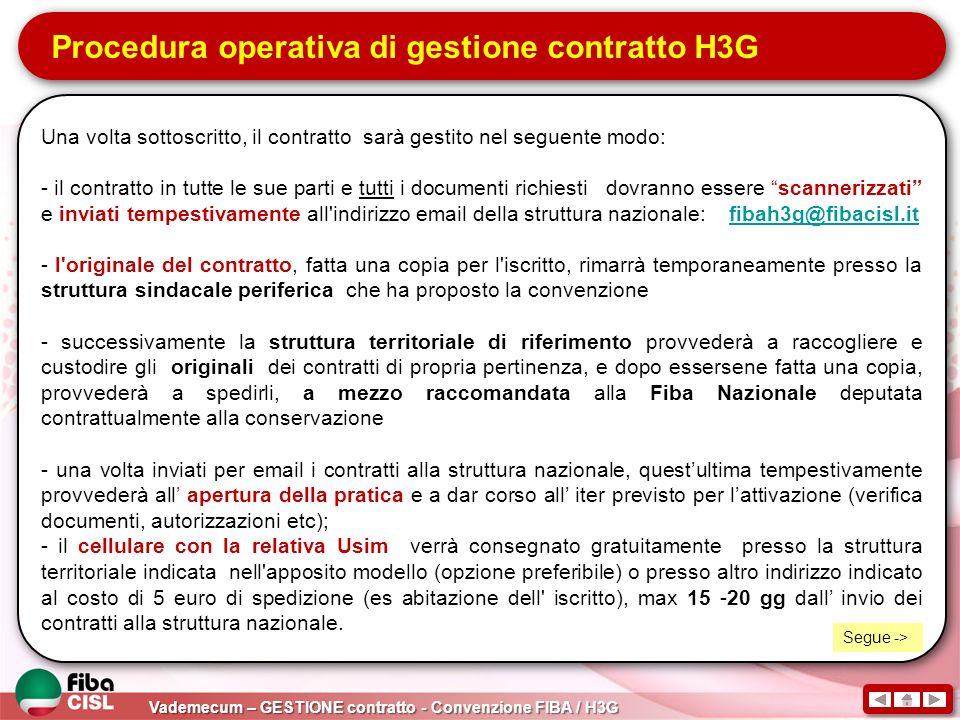 Procedura operativa di gestione contratto H3G