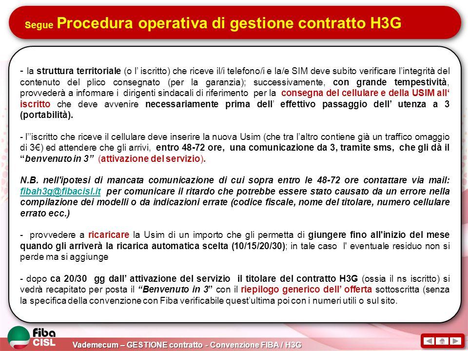 Segue Procedura operativa di gestione contratto H3G