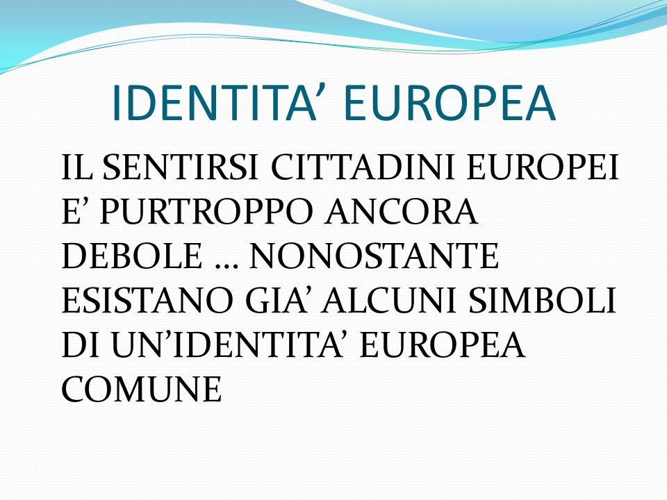 IDENTITA' EUROPEA IL SENTIRSI CITTADINI EUROPEI E' PURTROPPO ANCORA DEBOLE … NONOSTANTE ESISTANO GIA' ALCUNI SIMBOLI DI UN'IDENTITA' EUROPEA COMUNE.