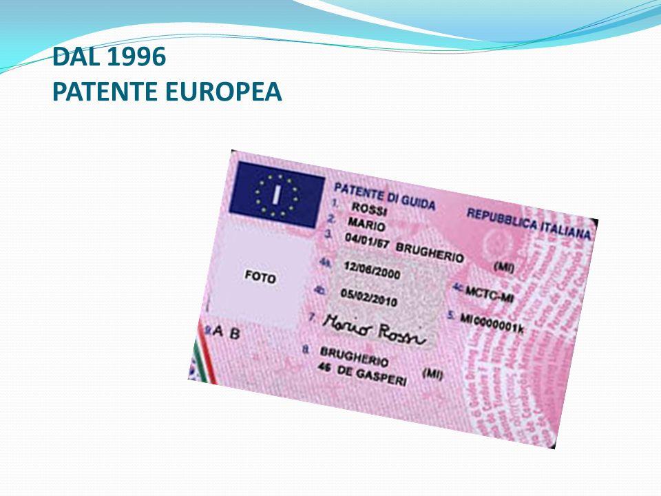 DAL 1996 PATENTE EUROPEA