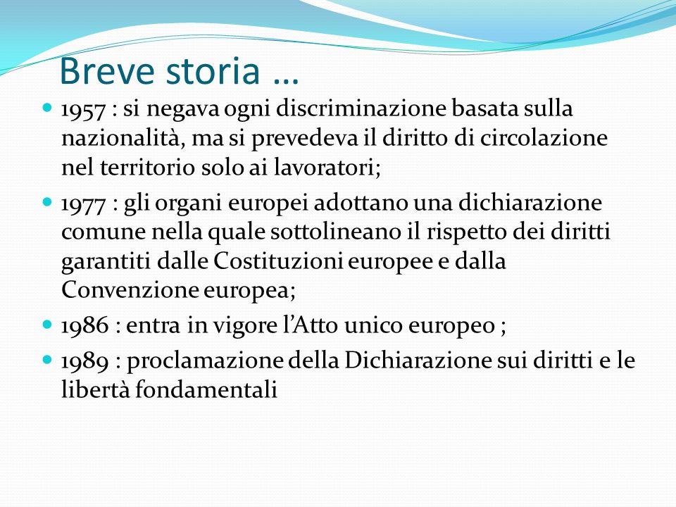 Breve storia …