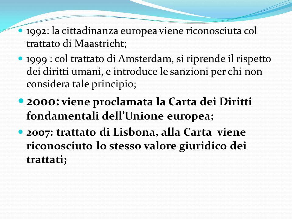 1992: la cittadinanza europea viene riconosciuta col trattato di Maastricht;