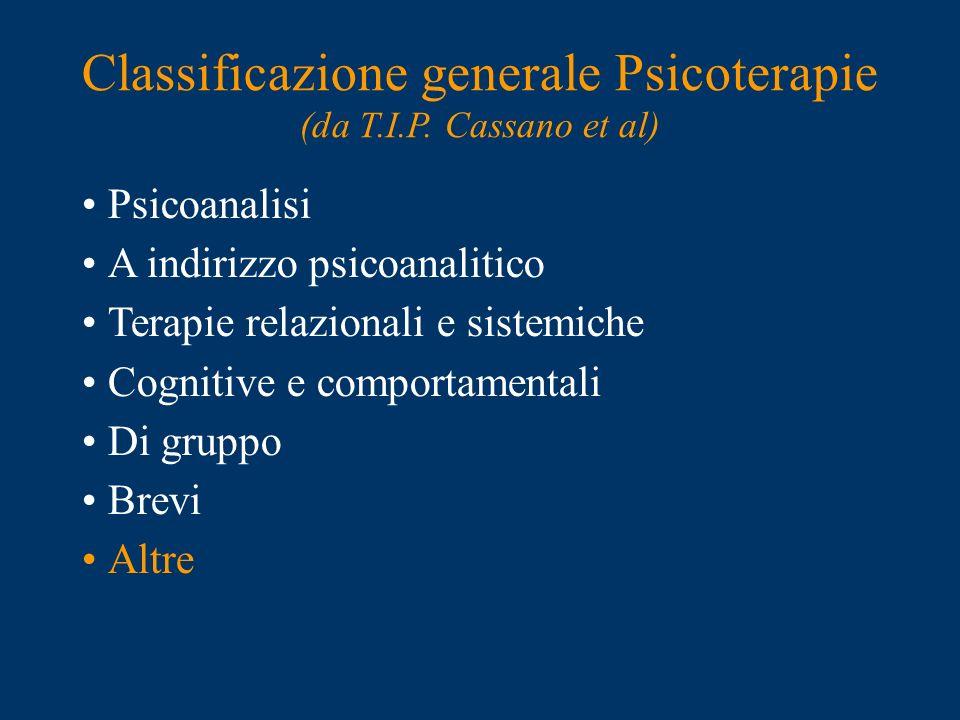 Classificazione generale Psicoterapie (da T.I.P. Cassano et al)