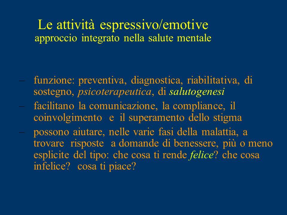 Le attività espressivo/emotive approccio integrato nella salute mentale