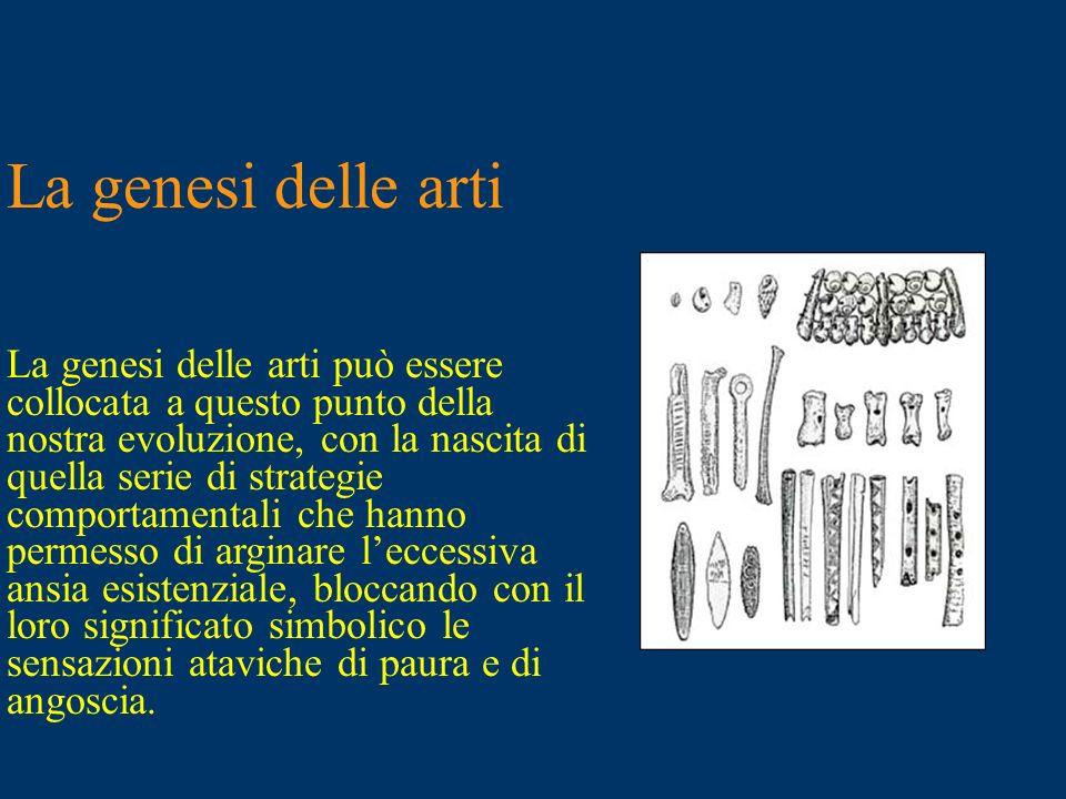 La genesi delle arti La genesi delle arti può essere collocata a questo punto della. nostra evoluzione, con la nascita di quella serie di strategie.