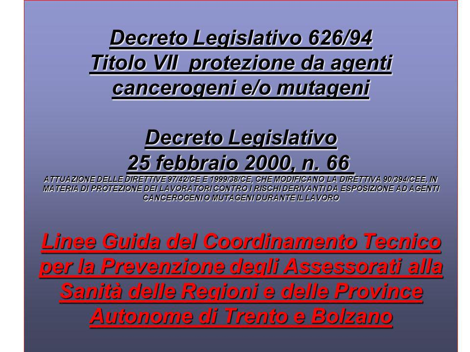 Decreto Legislativo 626/94 Titolo VII protezione da agenti cancerogeni e/o mutageni Decreto Legislativo 25 febbraio 2000, n.