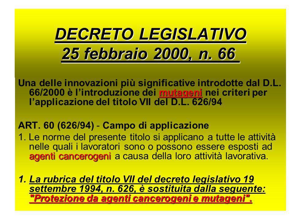 DECRETO LEGISLATIVO 25 febbraio 2000, n. 66