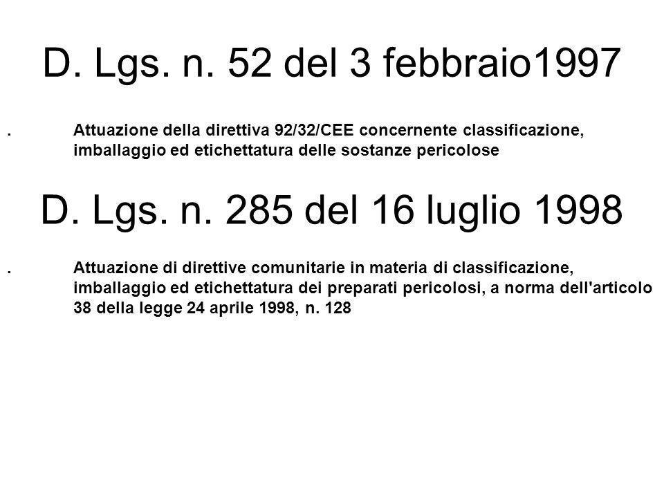 D. Lgs. n. 52 del 3 febbraio1997 D. Lgs. n. 285 del 16 luglio 1998