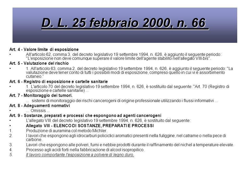 D. L. 25 febbraio 2000, n. 66 Art. 4 - Valore limite di esposizione