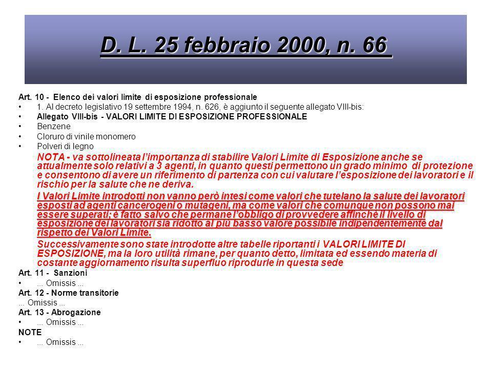 D. L. 25 febbraio 2000, n. 66 Art. 10 - Elenco dei valori limite di esposizione professionale.