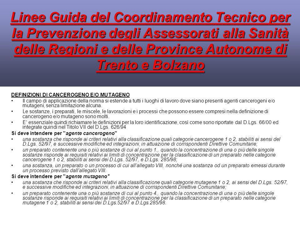 Linee Guida del Coordinamento Tecnico per la Prevenzione degli Assessorati alla Sanità delle Regioni e delle Province Autonome di Trento e Bolzano