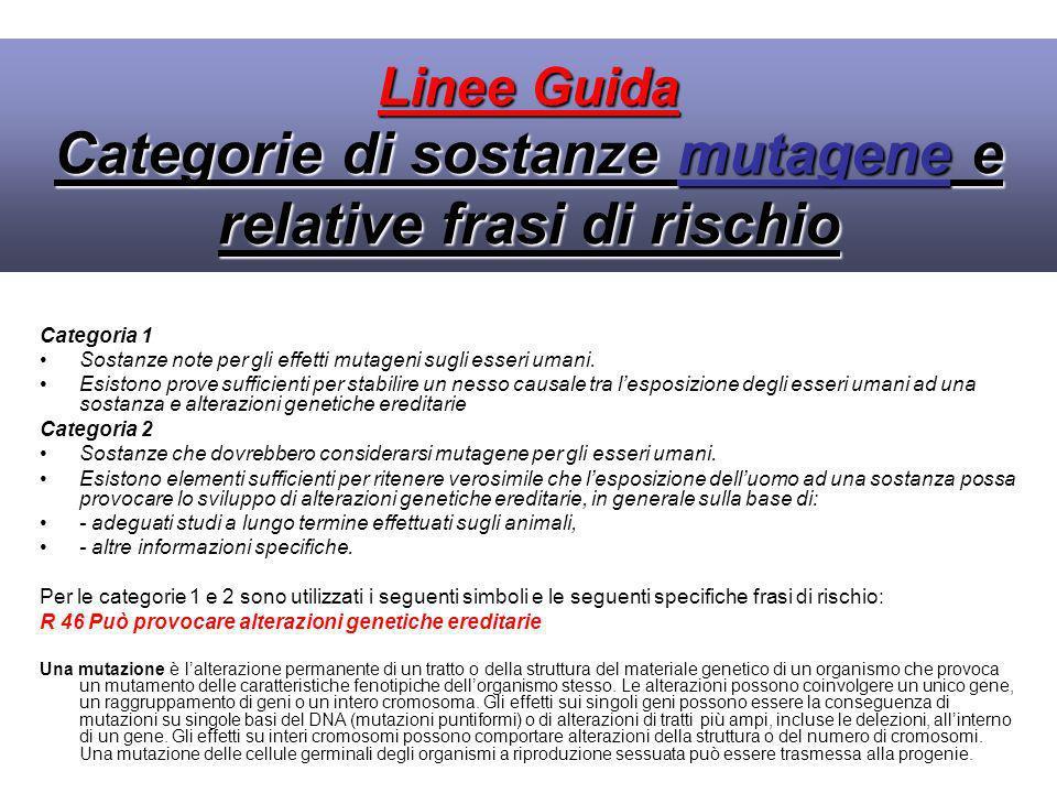 Linee Guida Categorie di sostanze mutagene e relative frasi di rischio