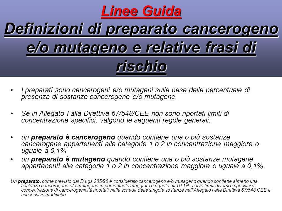 Linee Guida Definizioni di preparato cancerogeno e/o mutageno e relative frasi di rischio