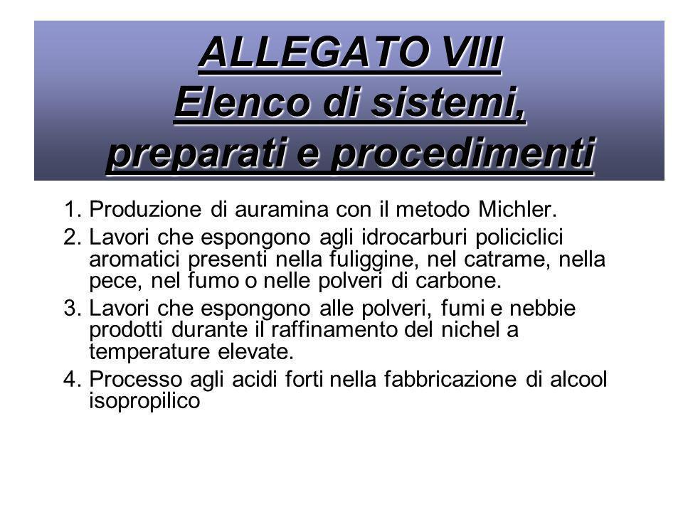 ALLEGATO VIII Elenco di sistemi, preparati e procedimenti