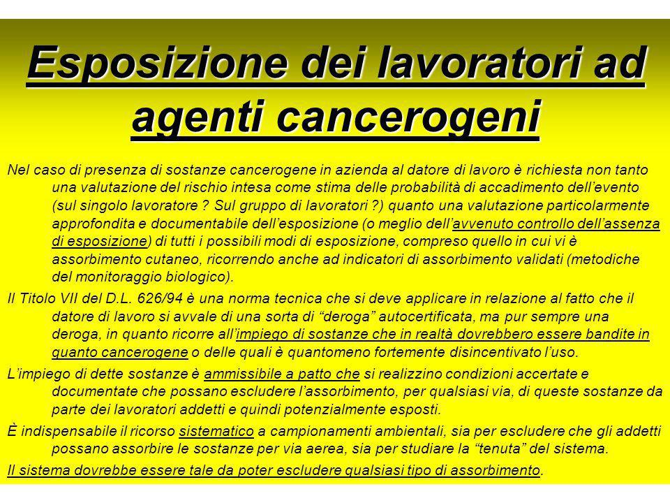 Esposizione dei lavoratori ad agenti cancerogeni