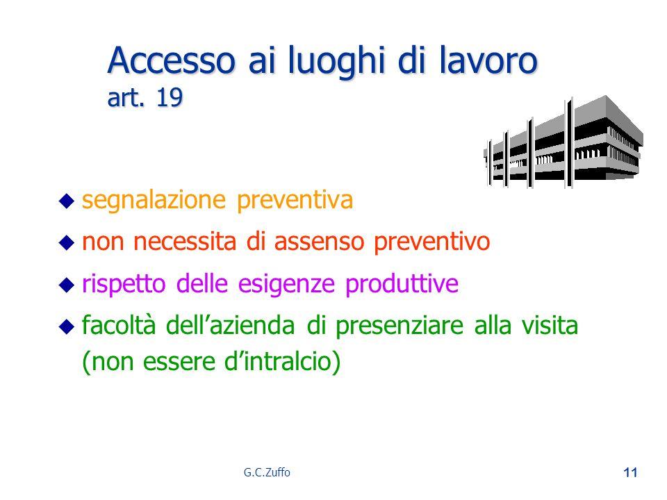Accesso ai luoghi di lavoro art. 19