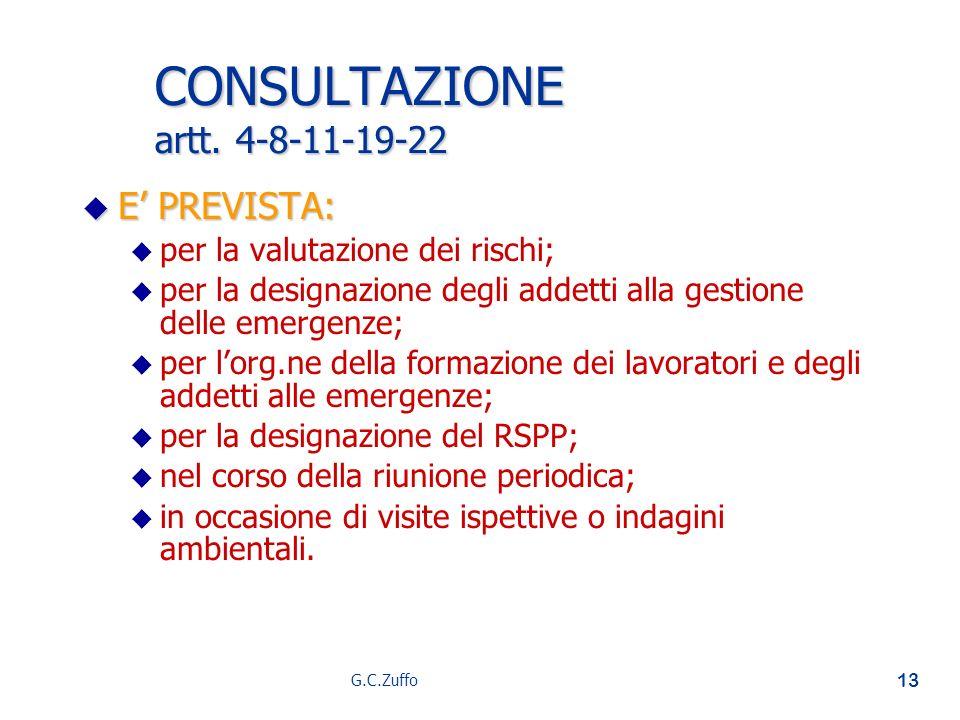 CONSULTAZIONE artt. 4-8-11-19-22