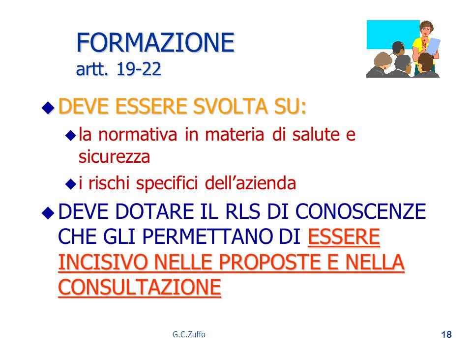 FORMAZIONE artt. 19-22 DEVE ESSERE SVOLTA SU: