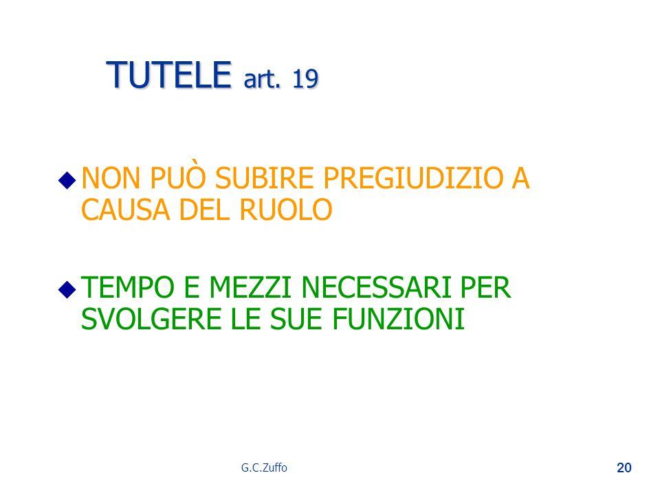 TUTELE art. 19 NON PUÒ SUBIRE PREGIUDIZIO A CAUSA DEL RUOLO