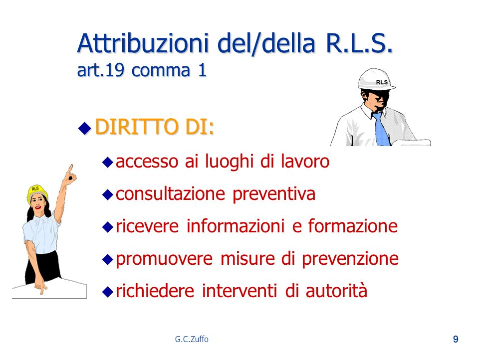Attribuzioni del/della R.L.S. art.19 comma 1