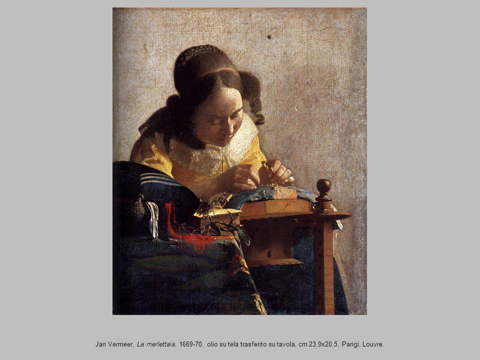 Jan Vermeer, La merlettaia, 1669-70, olio su tela trasferito su tavola, cm 23,9x20,5, Parigi, Louvre.