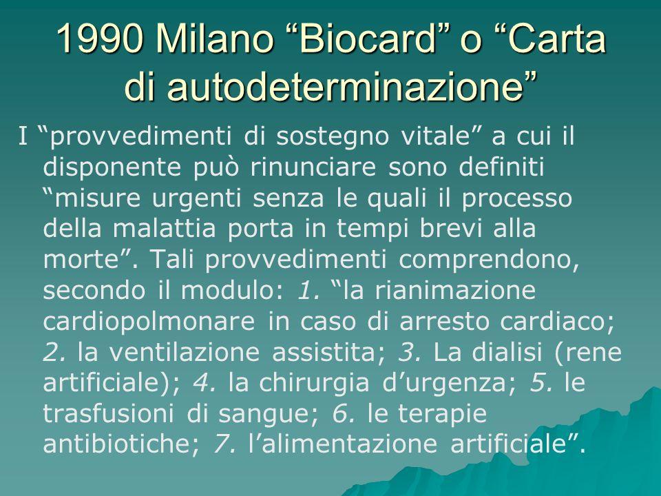 1990 Milano Biocard o Carta di autodeterminazione