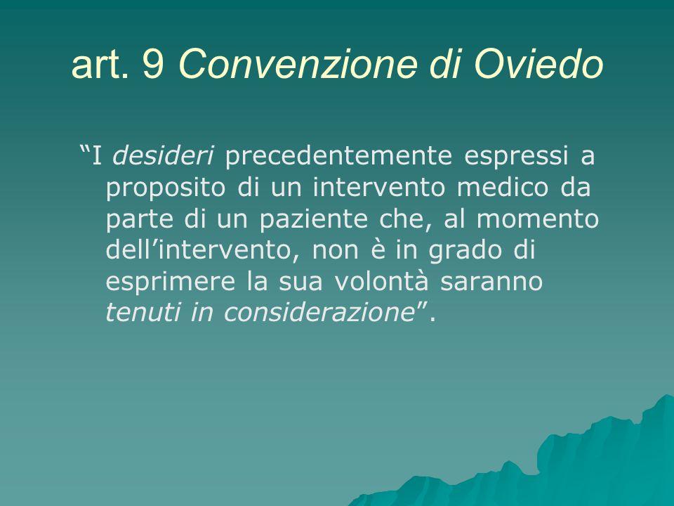 art. 9 Convenzione di Oviedo