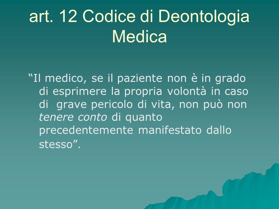 art. 12 Codice di Deontologia Medica