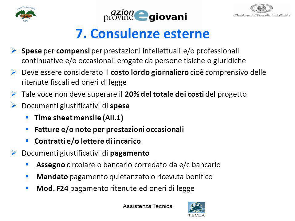 7. Consulenze esterne