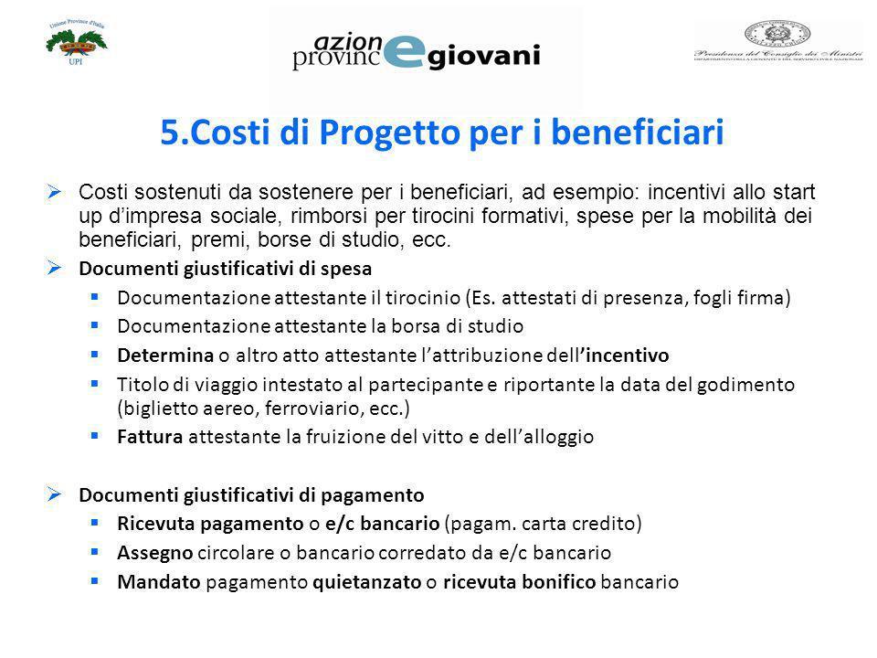 5.Costi di Progetto per i beneficiari
