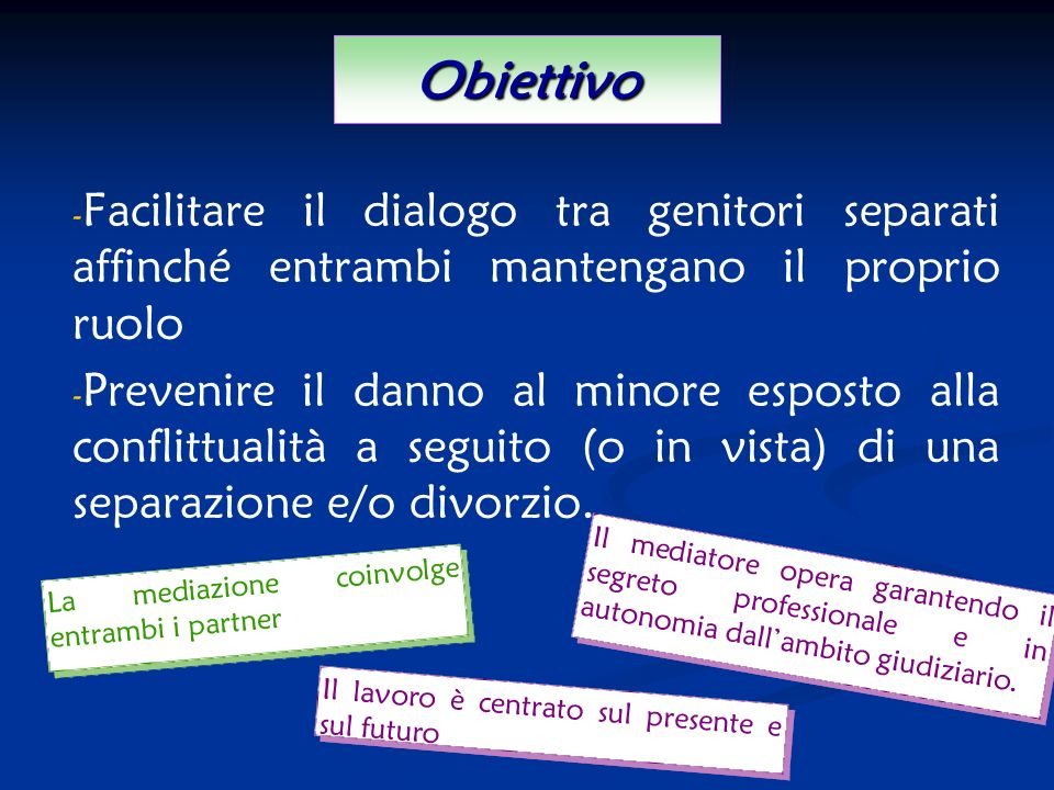 Obiettivo Facilitare il dialogo tra genitori separati affinché entrambi mantengano il proprio ruolo.