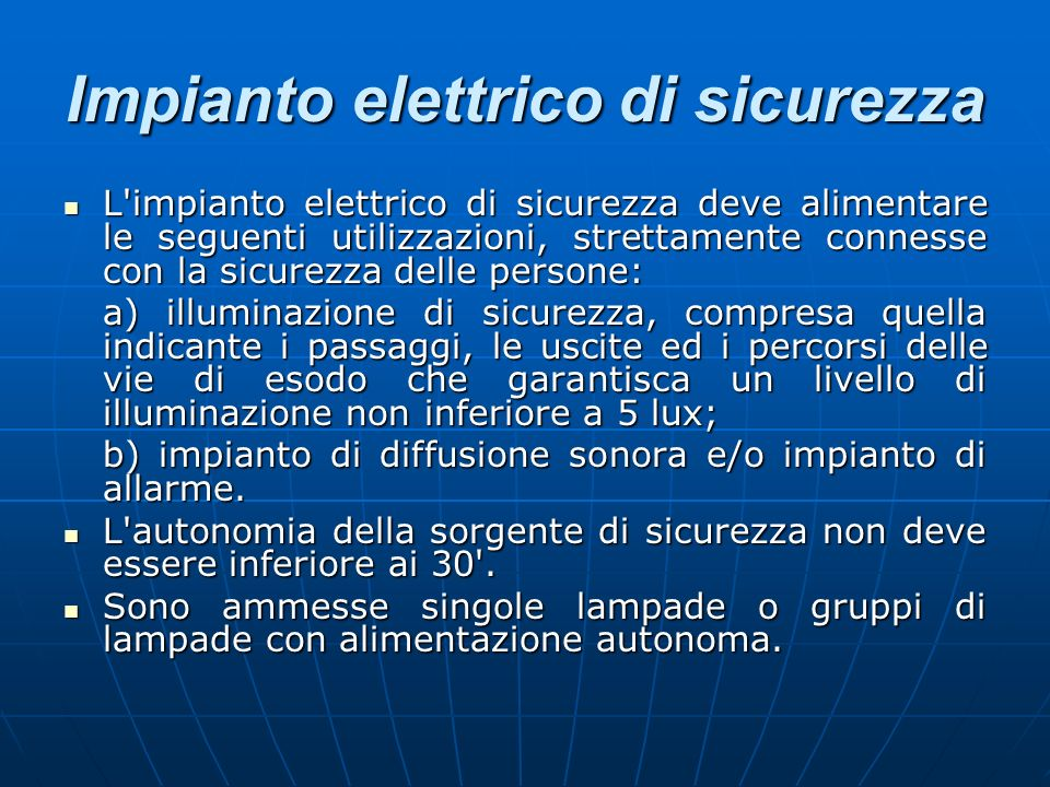 Impianto elettrico di sicurezza