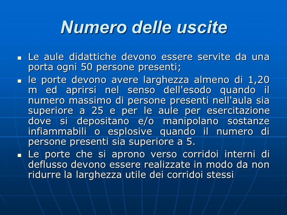 Numero delle usciteLe aule didattiche devono essere servite da una porta ogni 50 persone presenti;