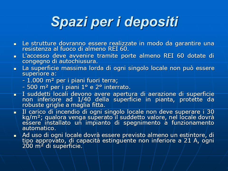 Spazi per i depositiLe strutture dovranno essere realizzate in modo da garantire una resistenza al fuoco di almeno REI 60.