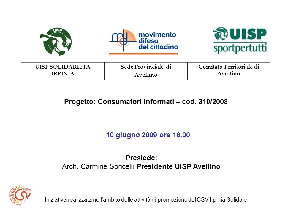 UISP SOLIDARIETÀ IRPINIA Comitato Territoriale di Avellino